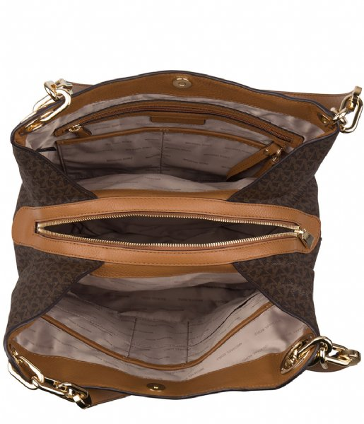 1f23fea7a65789 Fulton Large Charm Shoulder Tote brown & gold hardware Michael Kors ...